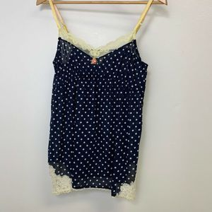 Anthro Feather Bone Polka Dot Nightie Lace